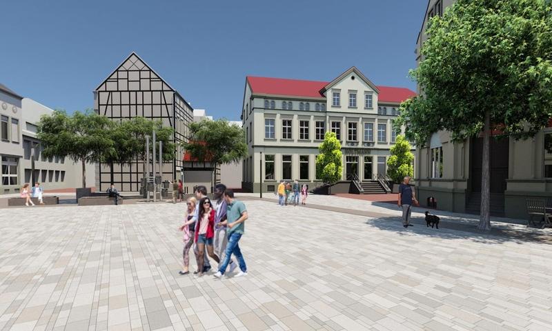 Panorama-Darstellung Entwurf Marktplatzumgestaltung vorgestellt