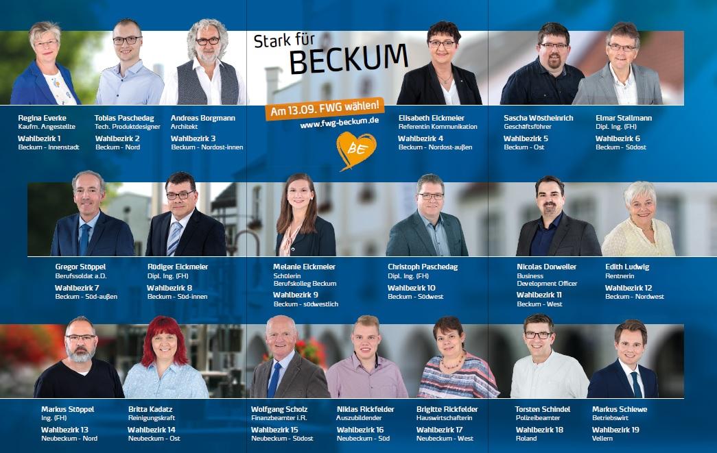 Ihr FWG-Kommunalwahl-Team: Stark für Beckum