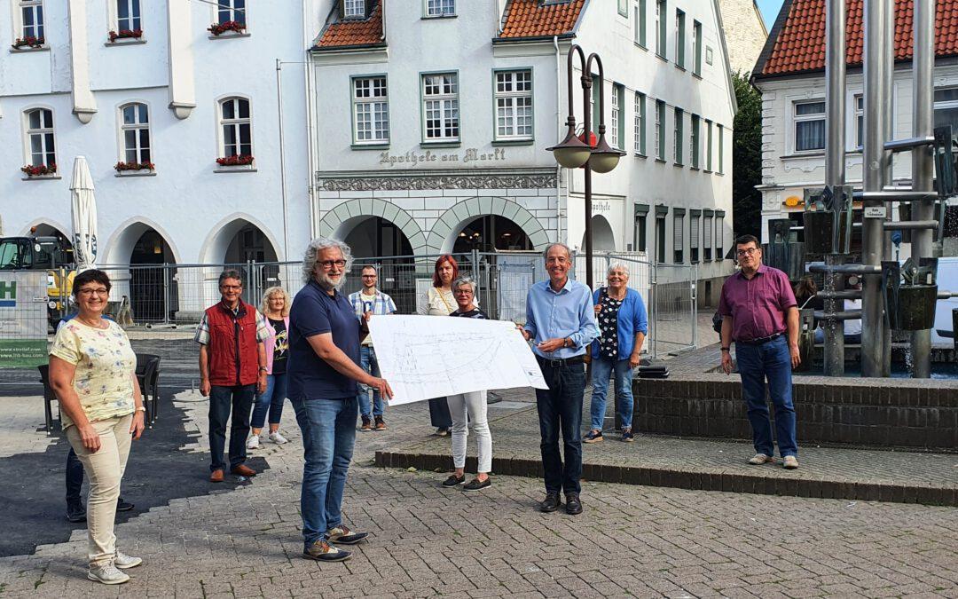 Fraktionssitzung auf dem Marktplatz