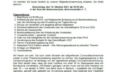 14.10.2021 Mitgliederversammlung FWG Beckum